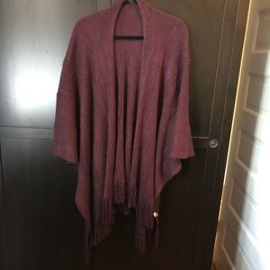 Purple, loose fitting sweater with fringe detail